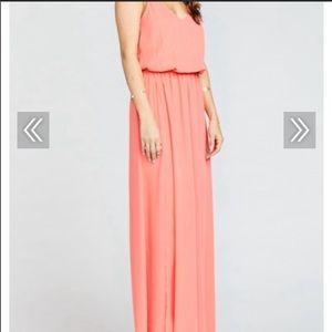 Mumu Kendall Maxi Dress Bright Coral Crisp XL New